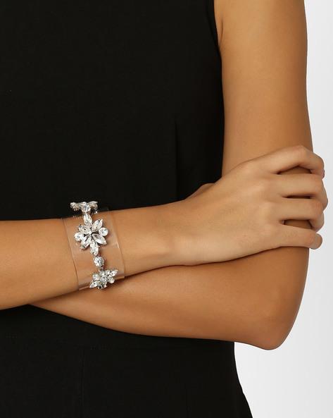 Crystal Embellished Cuff Bracelet By AJIO ( Silver )