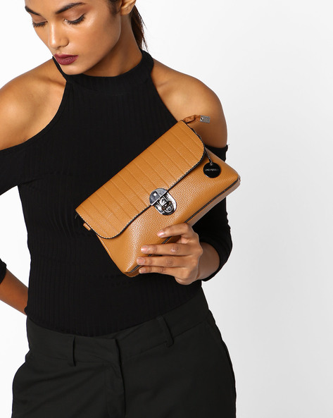 Clutch With Detachable Strap By Lino Perros ( Brown )