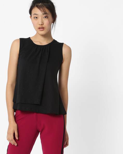 Sleeveless Top With Overlapping Front By ANONYMOUS CO ( Black )