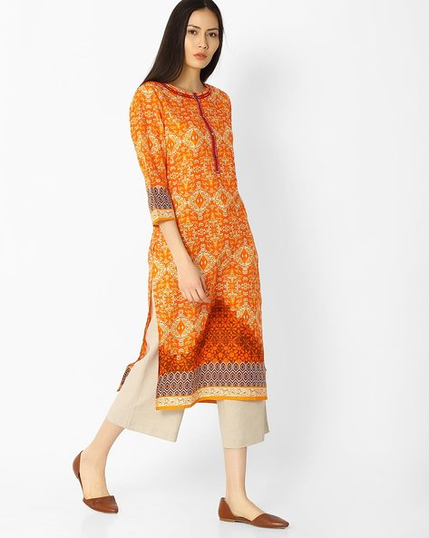 Printed Straight Kurta With Button Placket By Jaipur Kurti ( Orange )