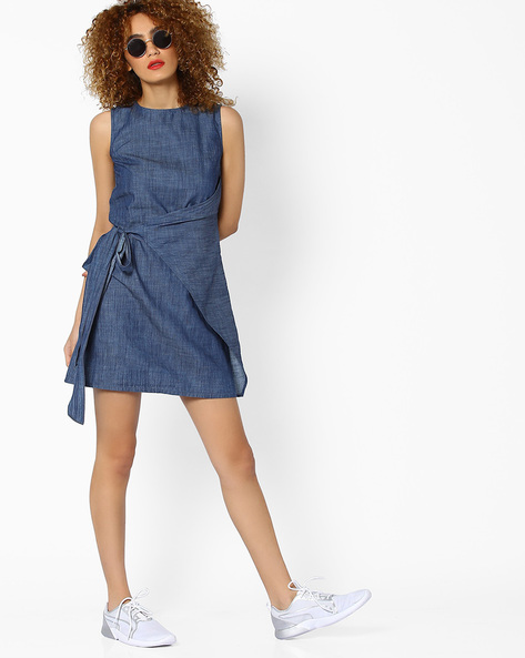 Sleeveless Shift Dress With Wrap Tie-Up By RI-DRESS ( Blue )
