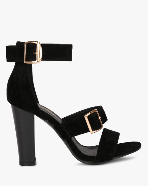 Multi-Strap Chunky Heeled Sandals By MFT Couture ( Black )