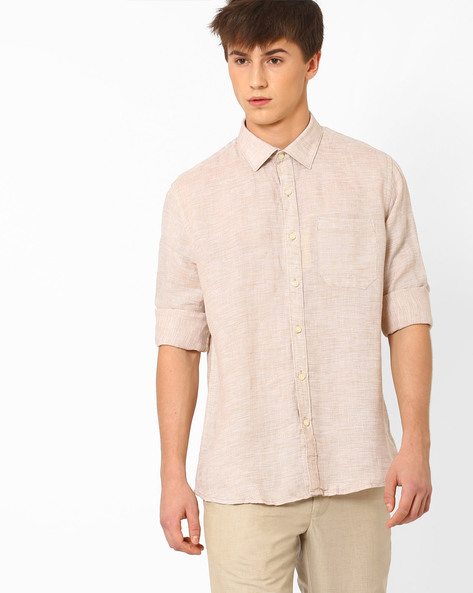 Linen Shirt With Patch Pocket By NETWORK ( Beige ) - 440723208006