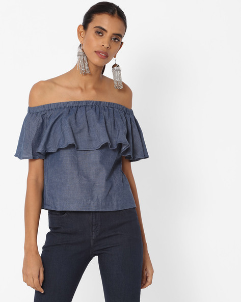 Off-Shoulder Top With Ruffled Bodice By Vero Moda ( Blue )