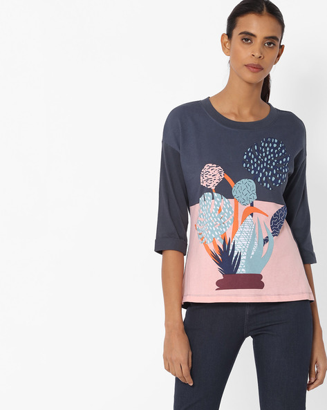 Printed Top With Drop Shoulders By Vero Moda ( Blue )