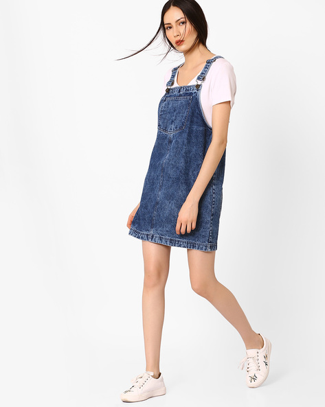 Cloud Wash Denim Dress By AJIO ( Blue )