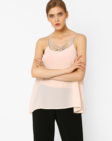 Strappy Top With Embellishments By AJIO ( Nude )