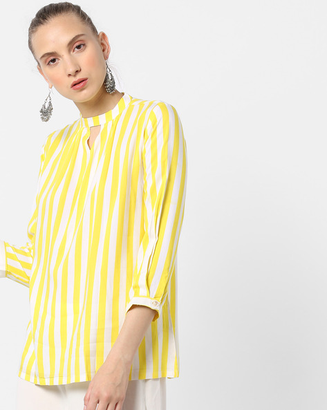 Striped Top With Keyhole Neckline By And ( Brtmulti )