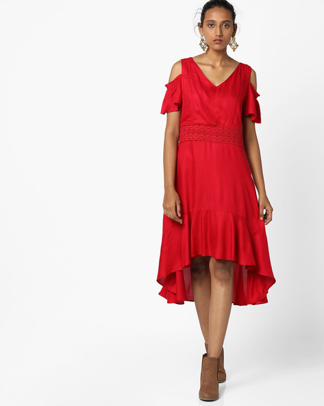 High-Low Dress With Cold-Shoulder Sleeves By CODE By Lifestyle ( Red )