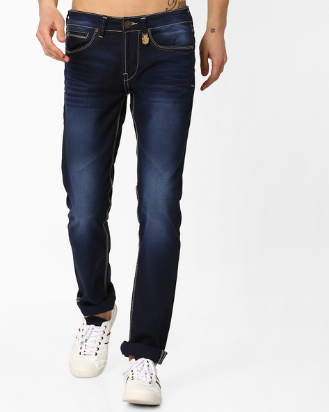 Lightly Washed Slim Fit Denims By Killer ( Blue )