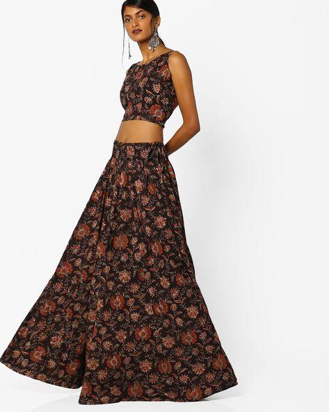 Floral Print Semi-Stitched Lehenga Choli Set By Parmita ( Black )