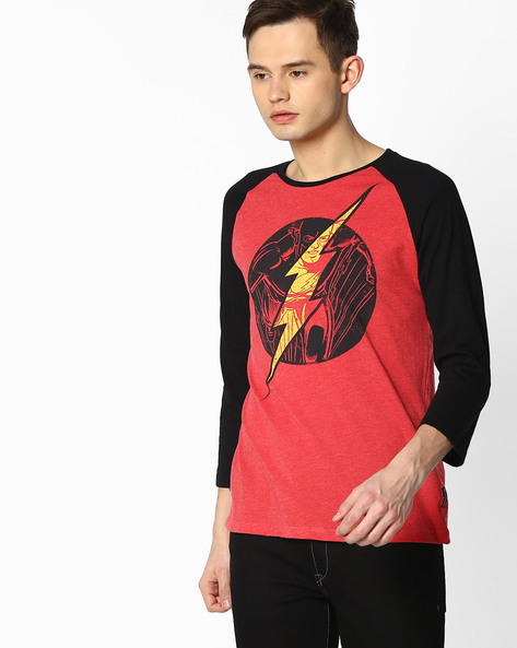 The Flash Print T-shirt With Raglan Sleeves By Free Authority ( Red )