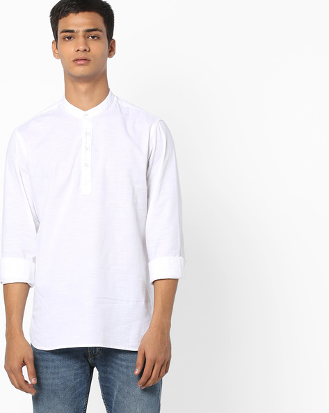 Popover Shirt With Mandarin Collar By AJIO ( White )