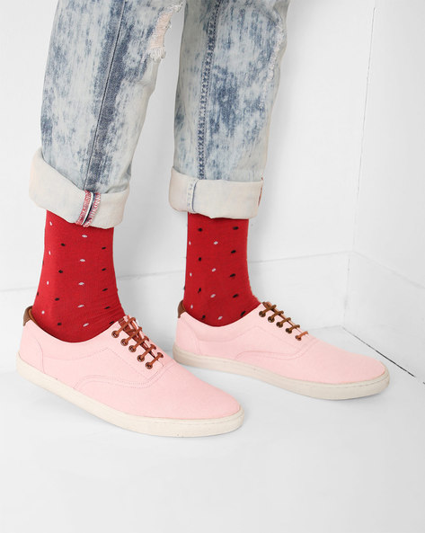 Casual Low-Top Lace-Up Shoes By AJIO ( Lightpink )
