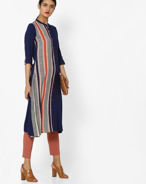 Button-Front Printed Straight Kurta By AVAASA MIX N' MATCH ( Navy )