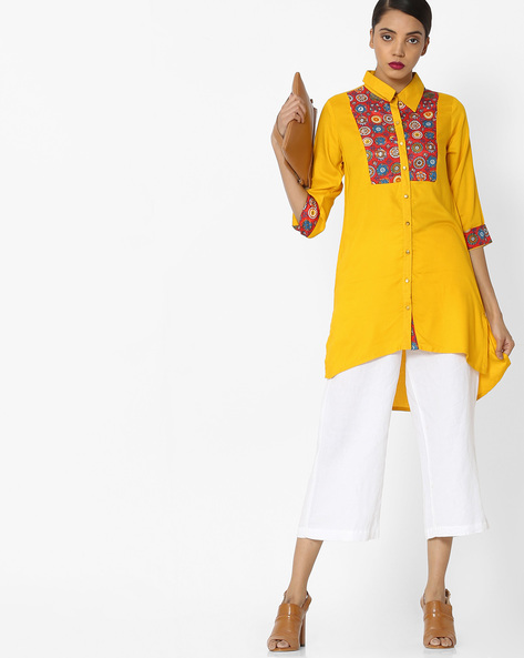 Shirt-Style Tunic With High-Low Hem By Akkriti By Pantaloons ( Yellow )