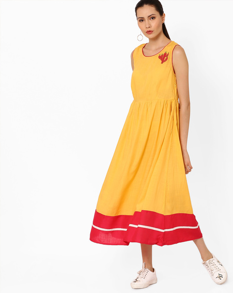Fit & Flare Midi Dress By AJIO ( Yellow )