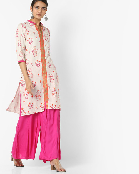 Printed Kurta With Front-Slit Hem By Rangmanch By Pantaloons ( Fuchsia )