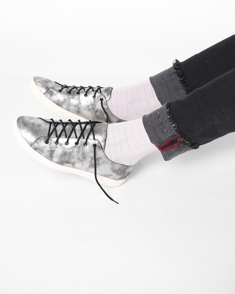 Textured Lace-Up Shoes By AJIO ( Black )