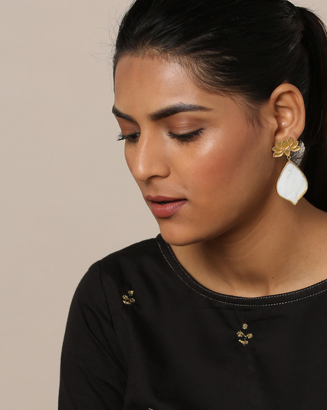 Gold-Plated Mother-of-Pearl Drop Designer Earrings By Rubans ( Gold )