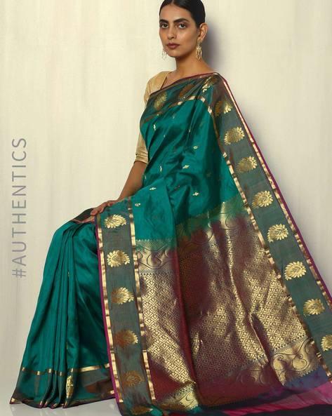 Handloom Arani Pure Silk Saree With Gold Buti By Pretty Woman ( Green )
