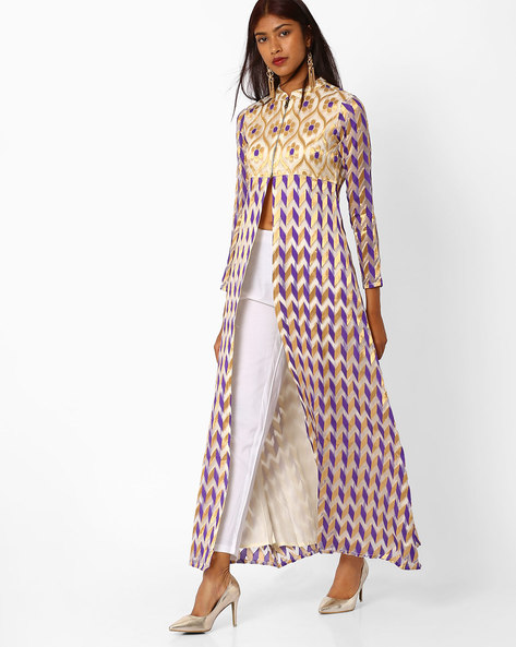 Brocade Maxi Dress With Front Slit By Khimsariya ( Purple )