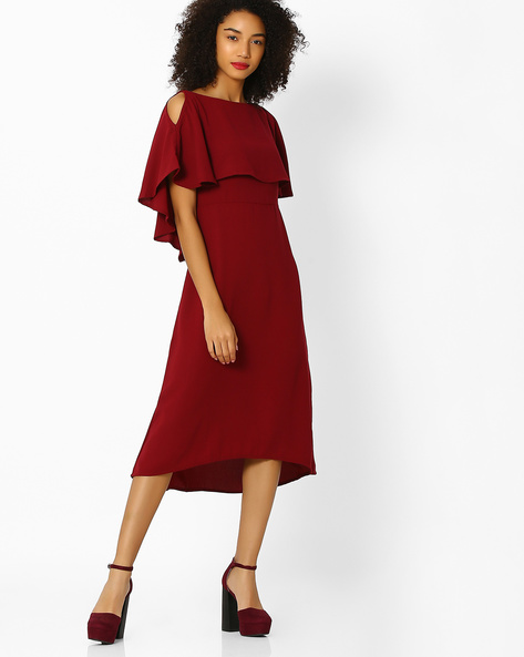 Popover Dress With Cold-Shoulder Sleeves By Femella ( Maroon )