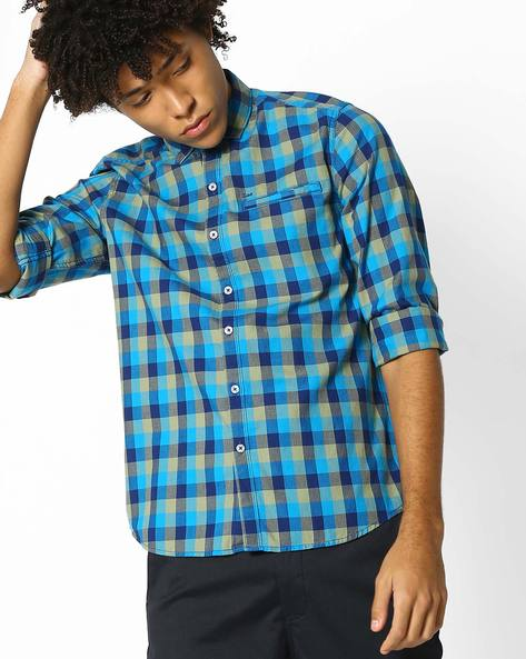 Yarn-Dyed Checked Shirt By Lee ( Blue )