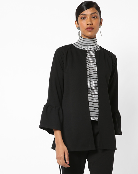 Shrug With Stylised Bell Sleeves By Femella ( Black )