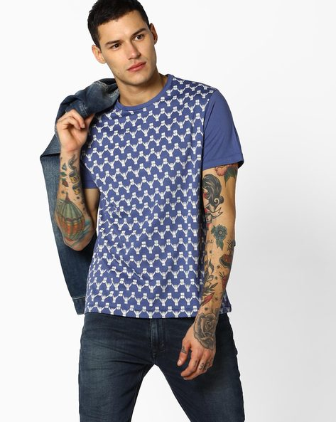 All-Over Print Crew-Neck T-Shirt By AJIO ( Blue )