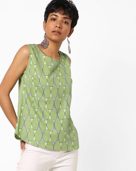 Block Print Sleeveless Tunic By AJIO ( Green )