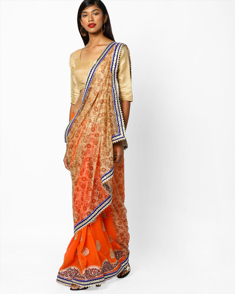 Floral Print Half & Half Saree With Embroidery By CHHABRA 555 ( Orange )