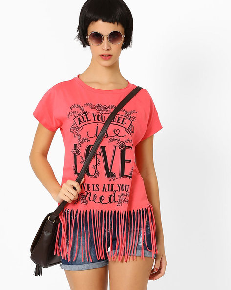 Graphic Top With Fringes By AJIO ( Pink )