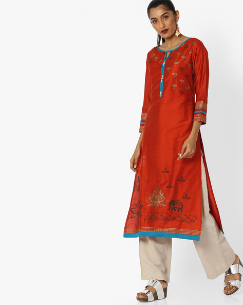 Printed Straight Kurta By Indian Ink ( Rust )