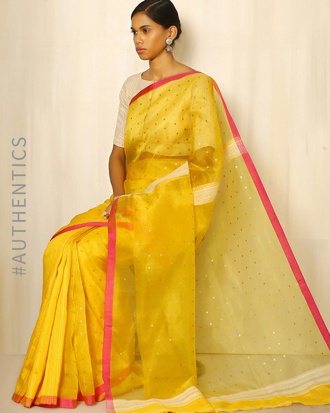 Handwoven Bengal Pure Silk Matka Saree With Embellishments By Indie Picks ( Yellow )