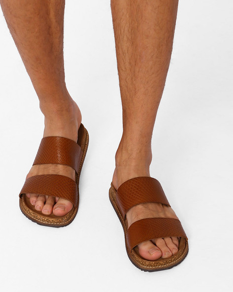 Leather Sandals With Textured Upper By ARROW ( Tan )