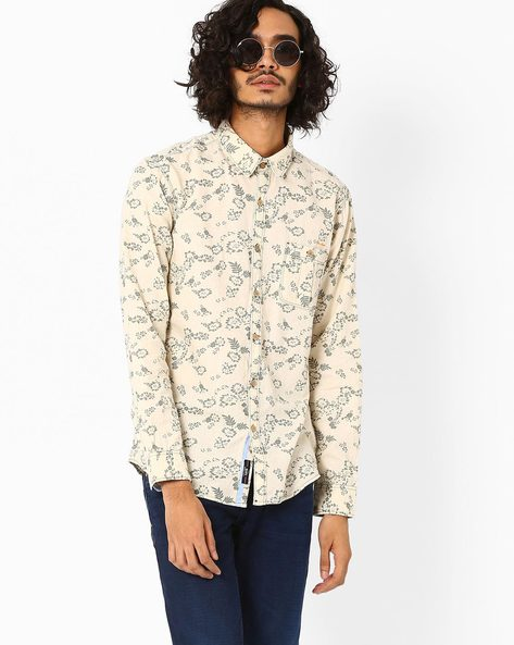 Floral Print Cotton Shirt By SIN ( Ecru )