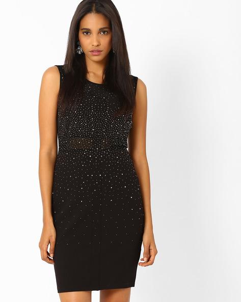 Embellished Bodycon Dress By AJIO ( Black )