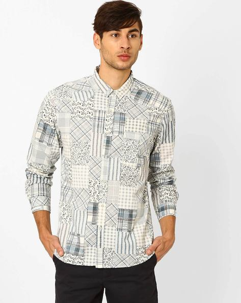 Printed Patchwork Slim Fit Shirt By AJIO ( Offwhite )