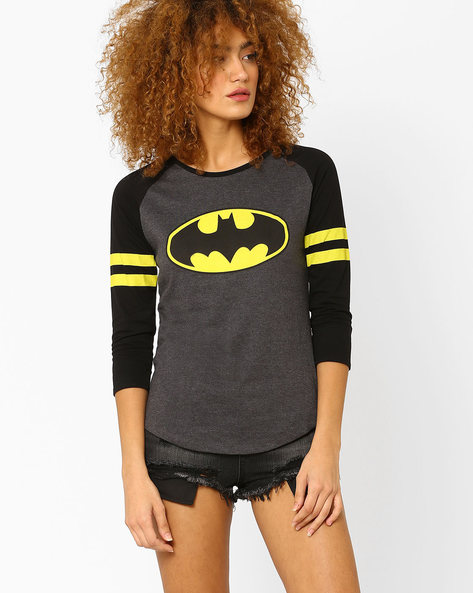 Batman Print T-shirt With Raglan Sleeves By Free Authority ( Grey )