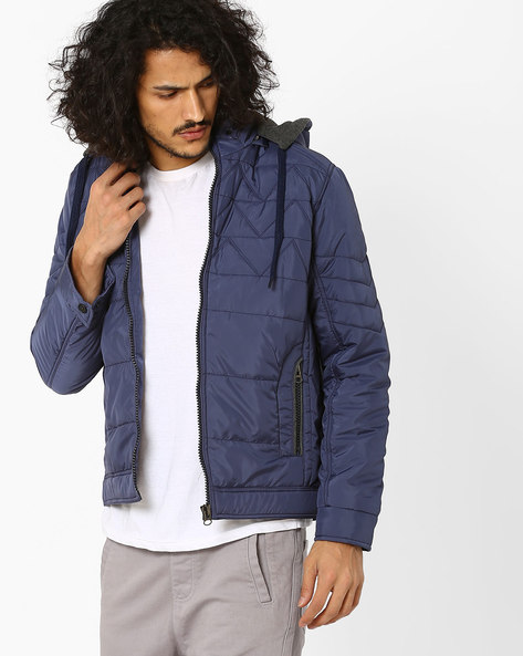 Regular Fit Quilted Jacket With Hood By Fort Collins ( Navy )