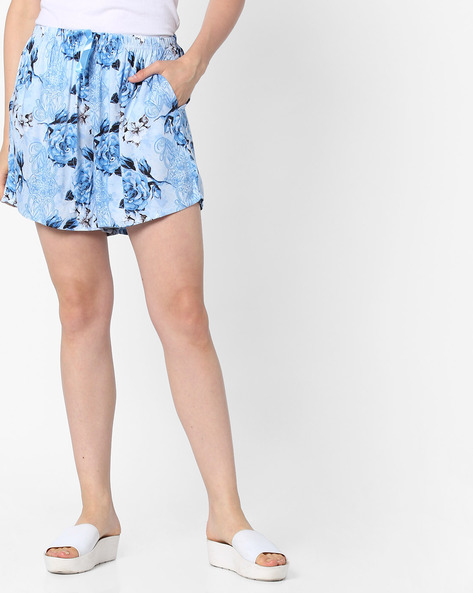 Woven Floral Print Lounge Shorts By Heart 2 Heart ( Blue )