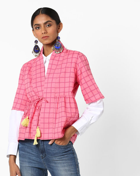 Checked Angrakha-Styled Top With Tie-Up By AJIO ( Pink )