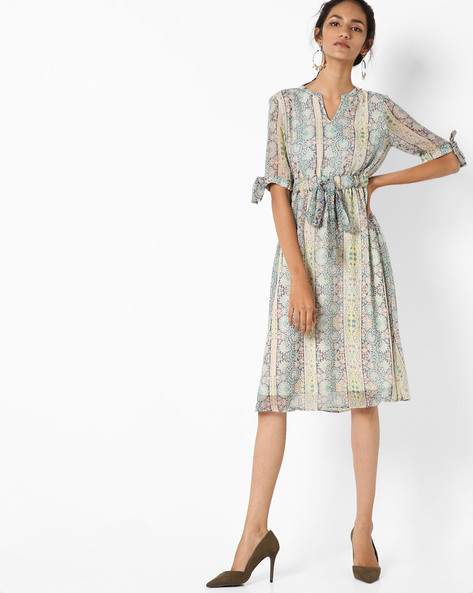 A-line Dress With Floral Print By AJIO ( Blue )