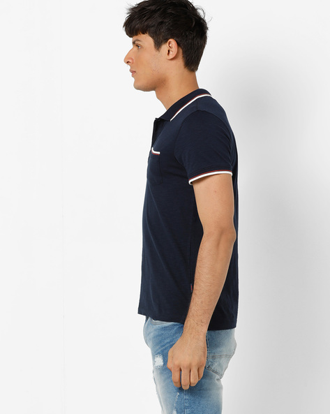 Slim Fit Polo T-shirt With Patch Pocket By Jack & Jones ( Navy )