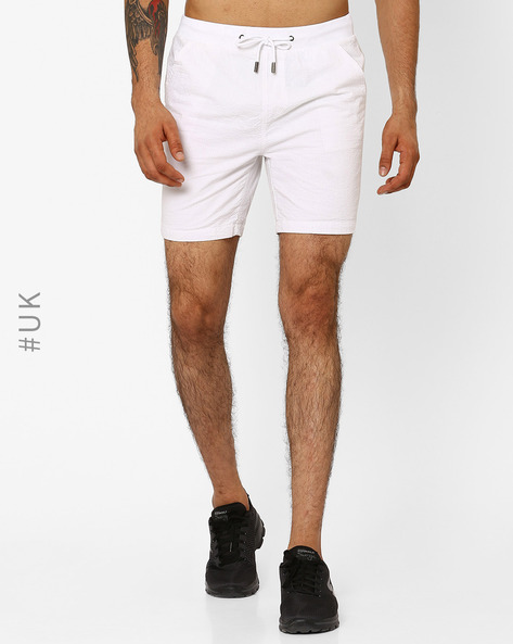 Textured Seersucker Shorts With Drawstring Waist By Native Youth ( White )