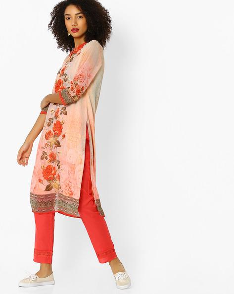 Floral Print Kurta With Mandarin Collar By FUSION BEATS ( Pink )