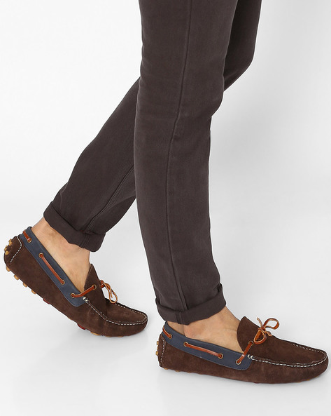 Leather Loafers With Tie-Up Detail By Knotty Derby ( Brown )