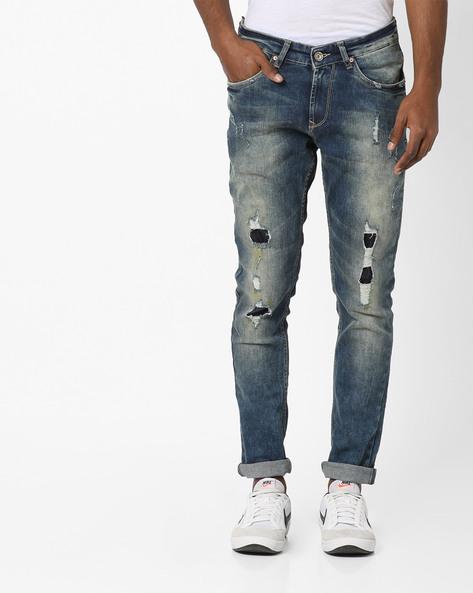 Stone-Wash Distressed Skinny Jeans By SPYKAR ( Blue )