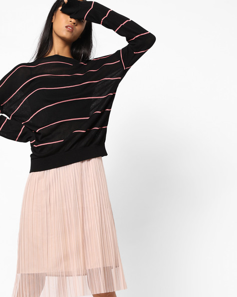 Striped Top With Ribbed Hems By AJIO ( Pink )